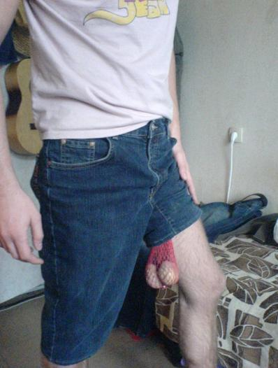 Balls hanging out of shorts